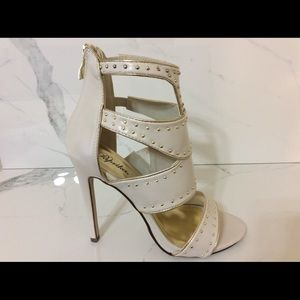 "New Women's Cream Bling Shoes Sexy 5"" Heels 8.5"